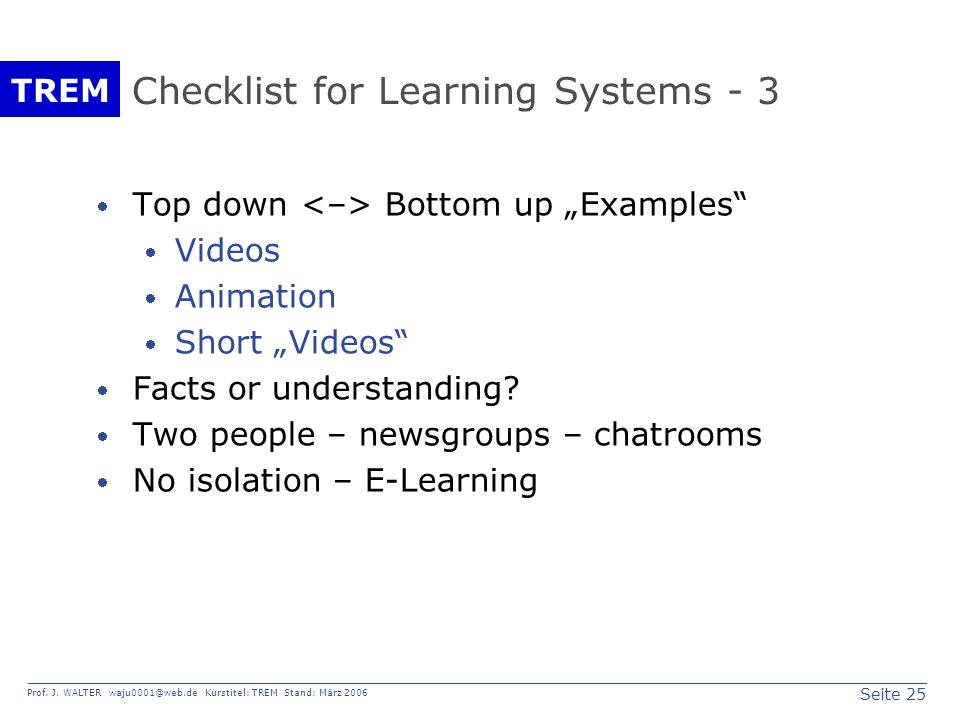 Checklist for Learning Systems - 3
