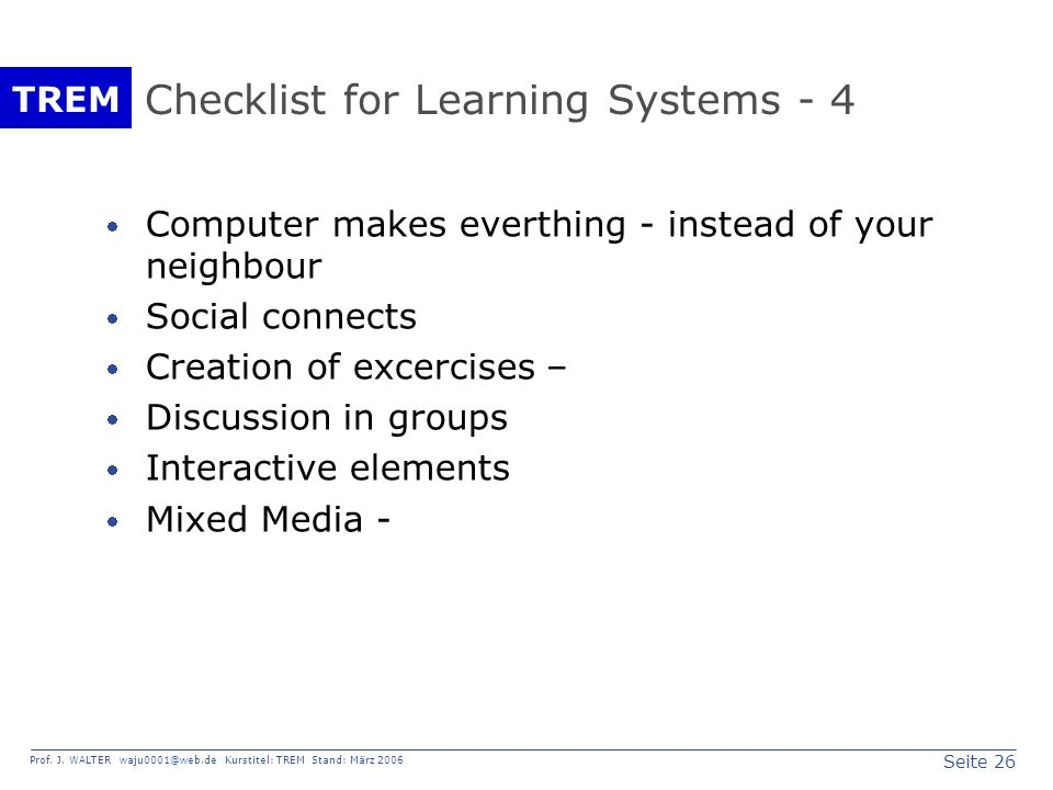 Checklist for Learning Systems - 4