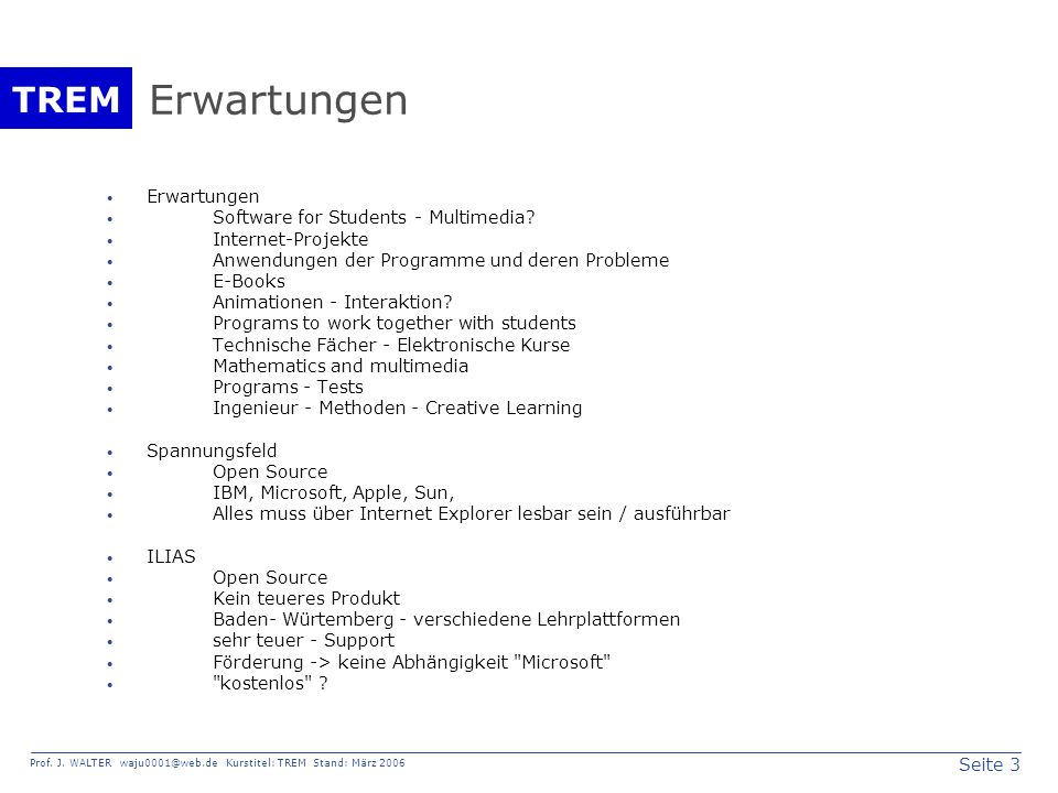 Erwartungen Erwartungen Software for Students - Multimedia