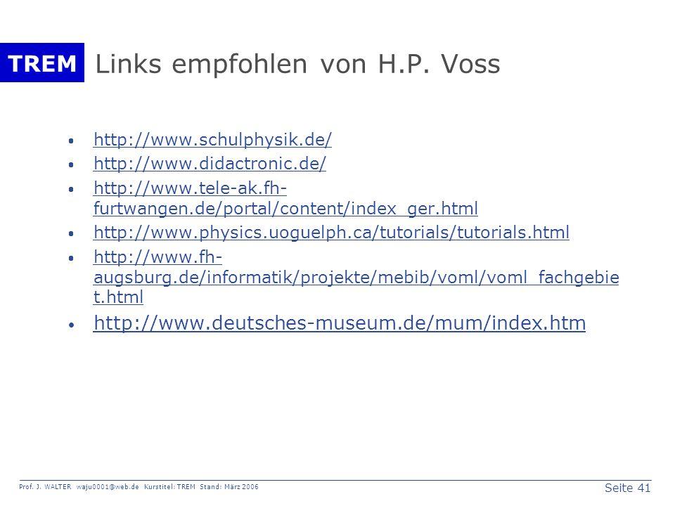 Links empfohlen von H.P. Voss