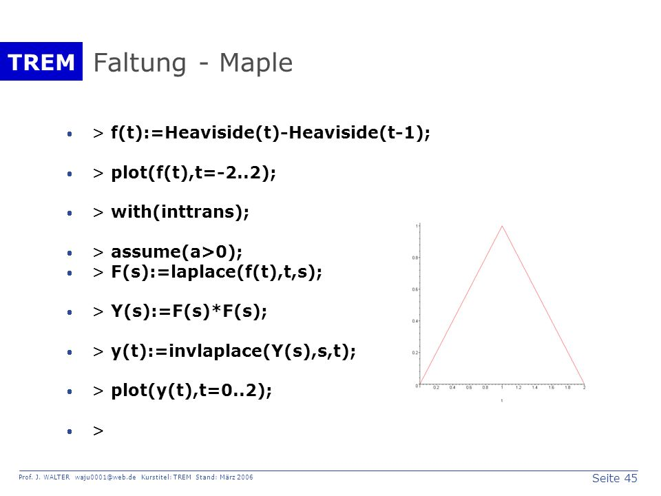 Faltung - Maple > f(t):=Heaviside(t)-Heaviside(t-1);