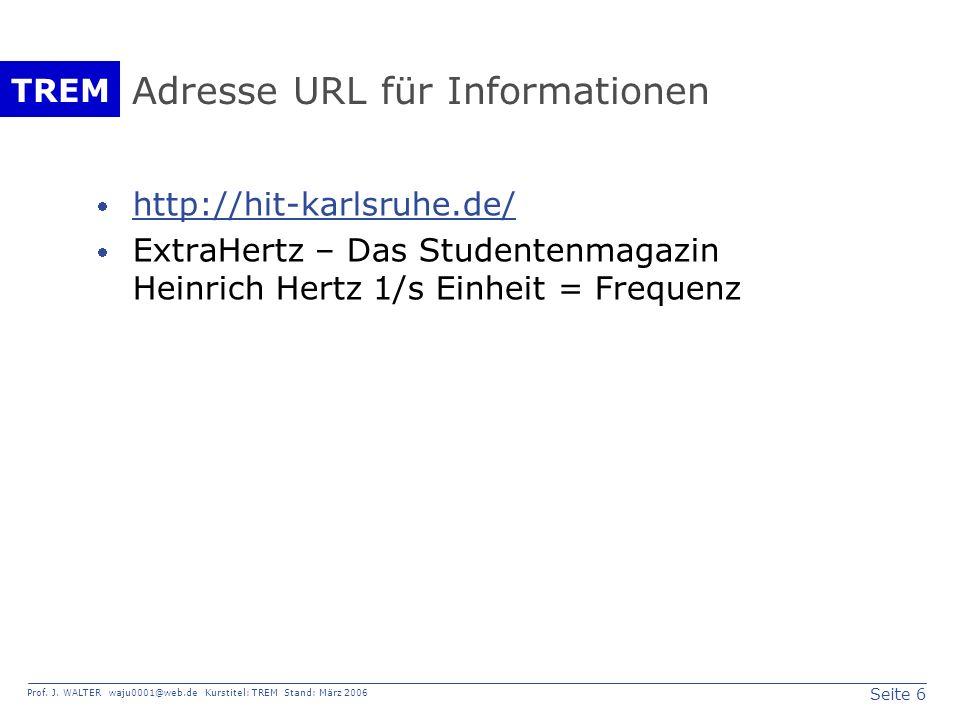 Adresse URL für Informationen