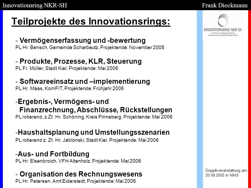 Teilprojekte des Innovationsrings: