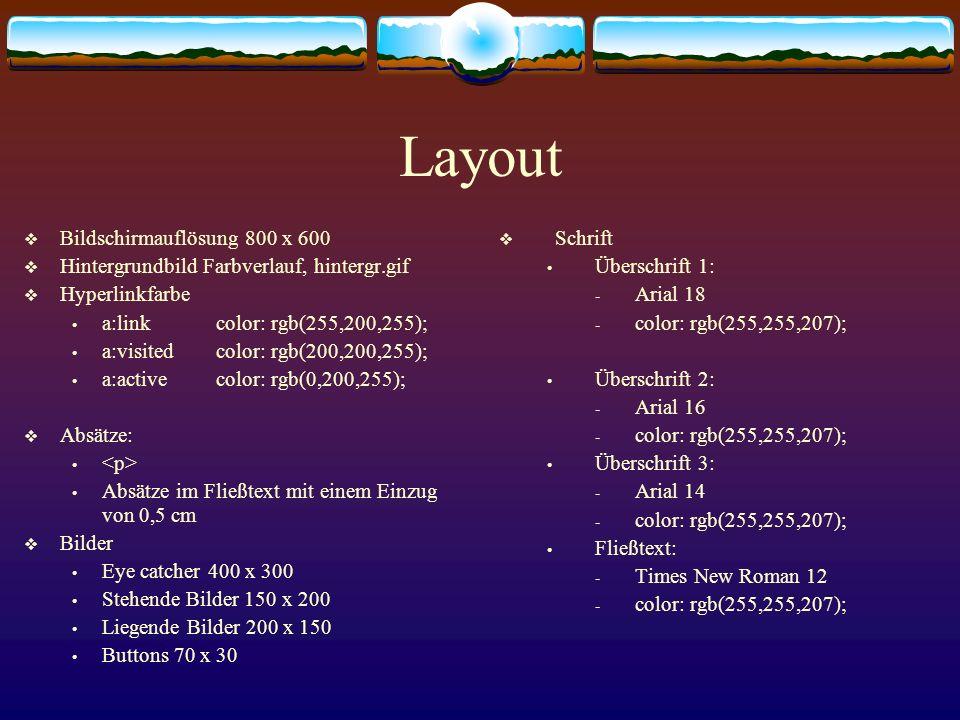 Layout Bildschirmauflösung 800 x 600