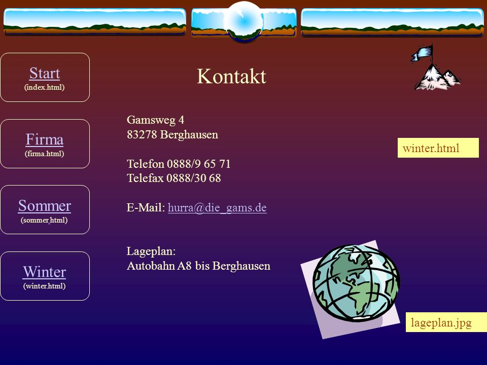 Kontakt Start (index.html) Firma (firma.html) Sommer (sommer.html)