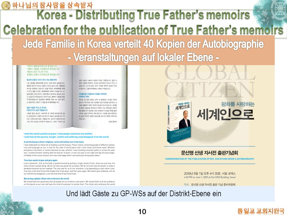 Korea - Distributing True Father's memoirs Celebration for the publication of True Father's memoirs