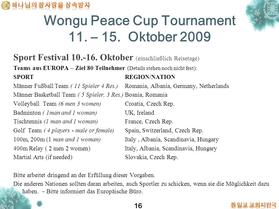 Wongu Peace Cup Tournament 11. – 15. Oktober 2009