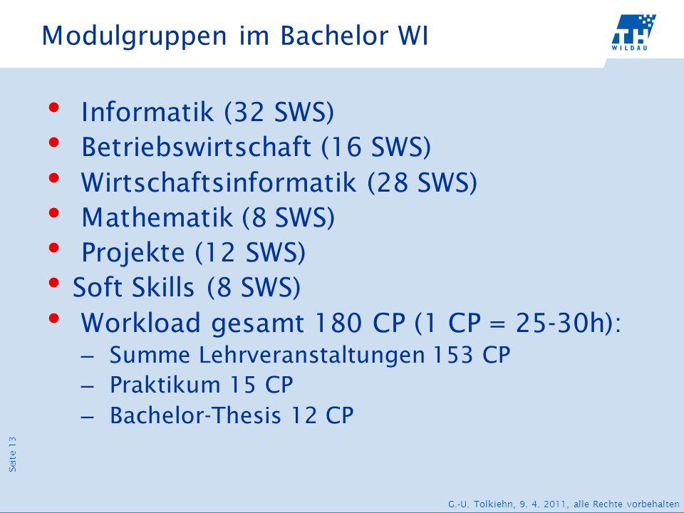 Modulgruppen im Bachelor WI