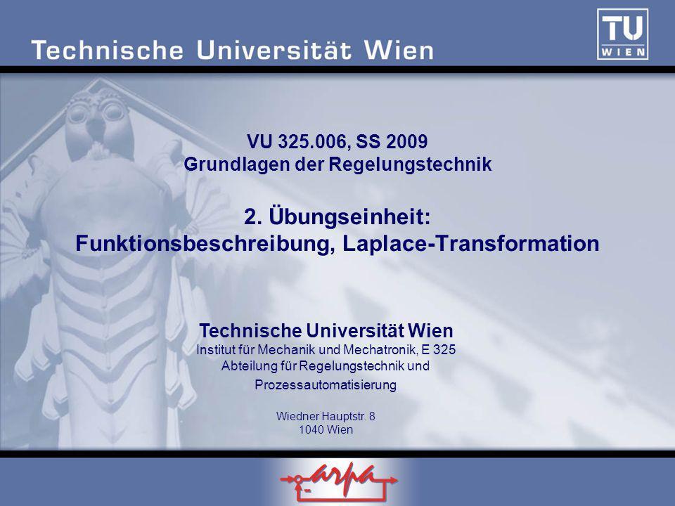 VU 325. 006, SS 2009 Grundlagen der Regelungstechnik 2