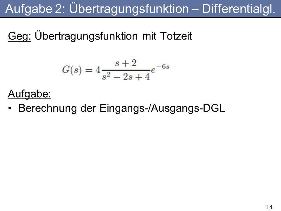 Aufgabe 2: Übertragungsfunktion – Differentialgl.