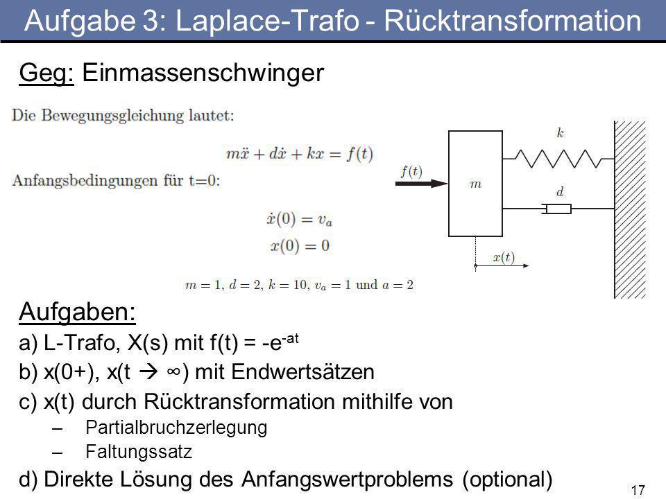 Aufgabe 3: Laplace-Trafo - Rücktransformation