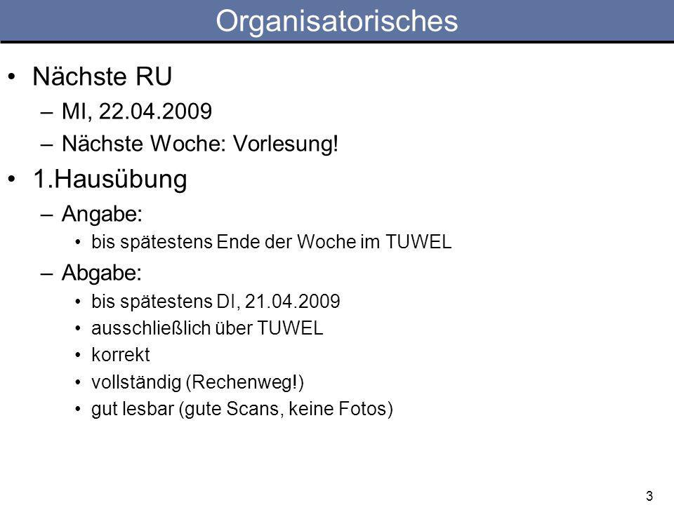Organisatorisches Nächste RU 1.Hausübung MI, 22.04.2009