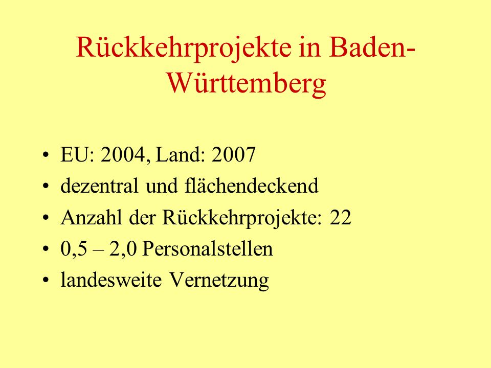 Rückkehrprojekte in Baden-Württemberg