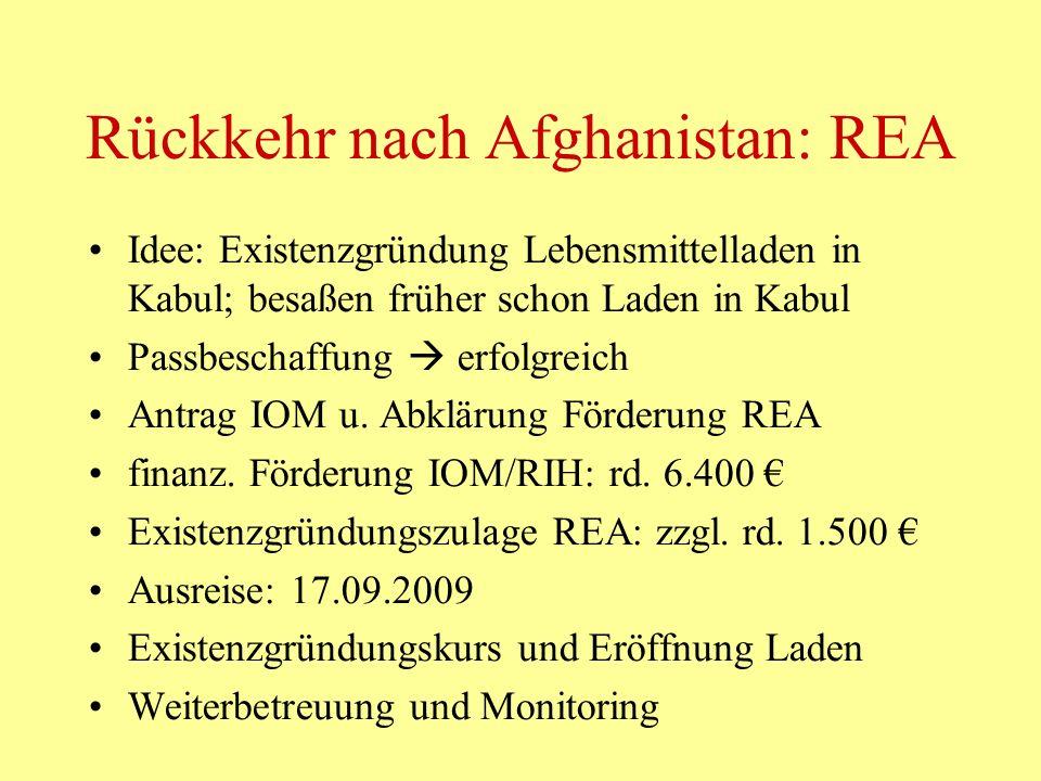 Rückkehr nach Afghanistan: REA