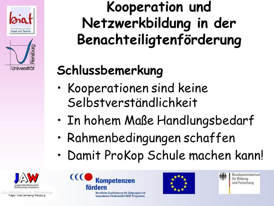 Kooperation und Netzwerkbildung in der Benachteiligtenförderung