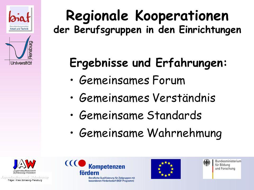 Regionale Kooperationen der Berufsgruppen in den Einrichtungen