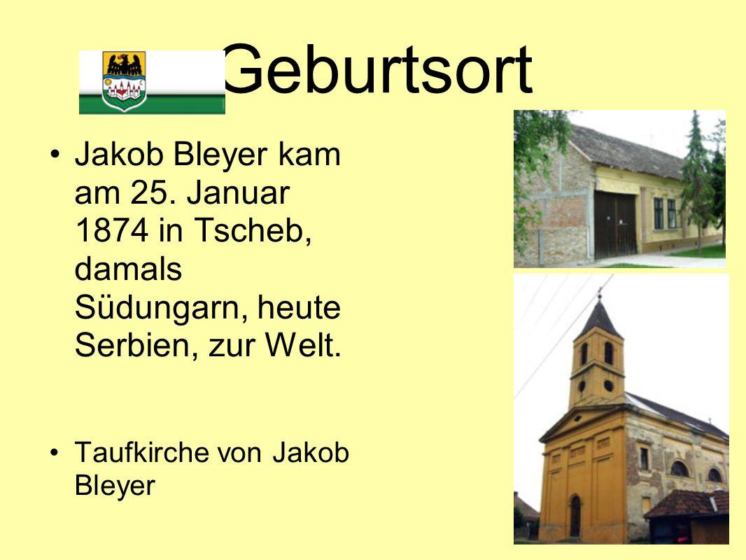 Geburtsort Jakob Bleyer kam am 25. Januar 1874 in Tscheb, damals Südungarn, heute Serbien, zur Welt.