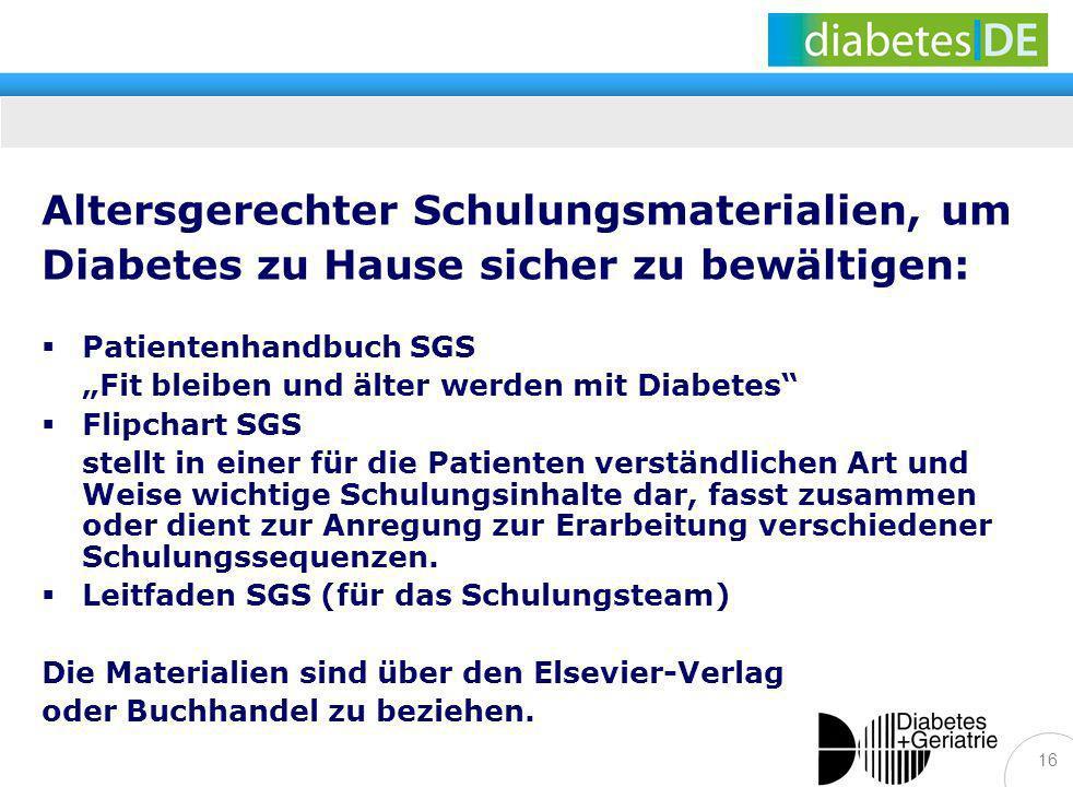 Altersgerechter Schulungsmaterialien, um Diabetes zu Hause sicher zu bewältigen: