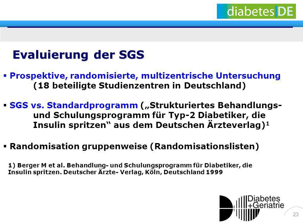 Evaluierung der SGSProspektive, randomisierte, multizentrische Untersuchung (18 beteiligte Studienzentren in Deutschland)