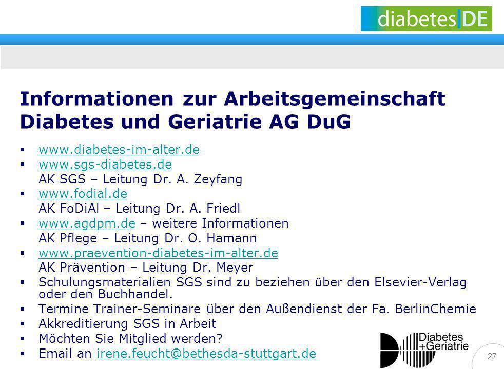 Informationen zur Arbeitsgemeinschaft Diabetes und Geriatrie AG DuG