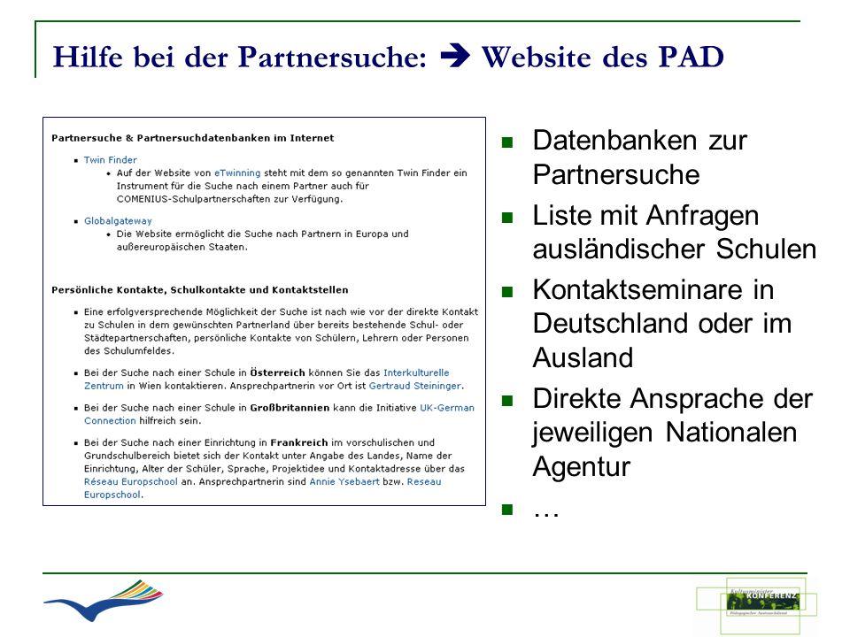 Hilfe bei der Partnersuche:  Website des PAD