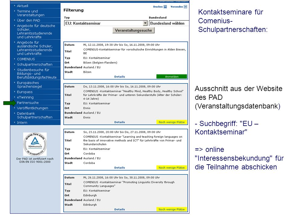 Kontaktseminare für Comenius-Schulpartnerschaften: