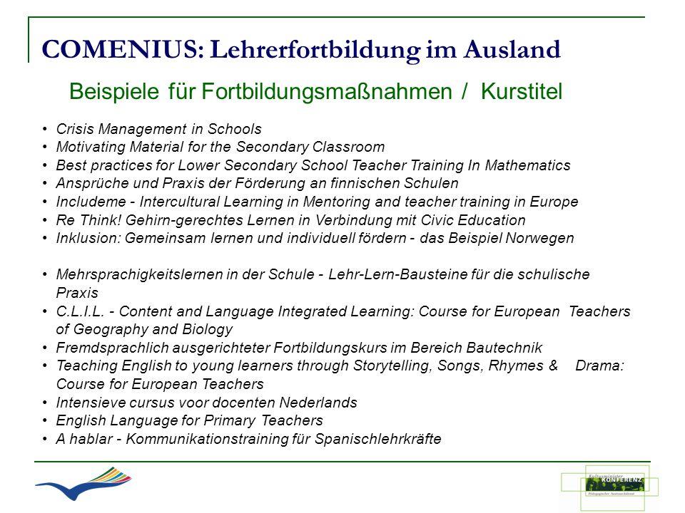 COMENIUS: Lehrerfortbildung im Ausland