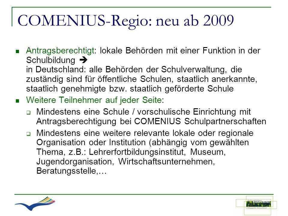 COMENIUS-Regio: neu ab 2009