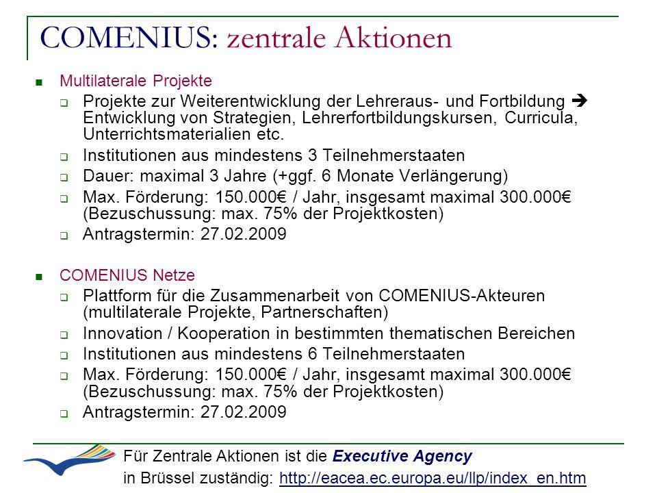COMENIUS: zentrale Aktionen