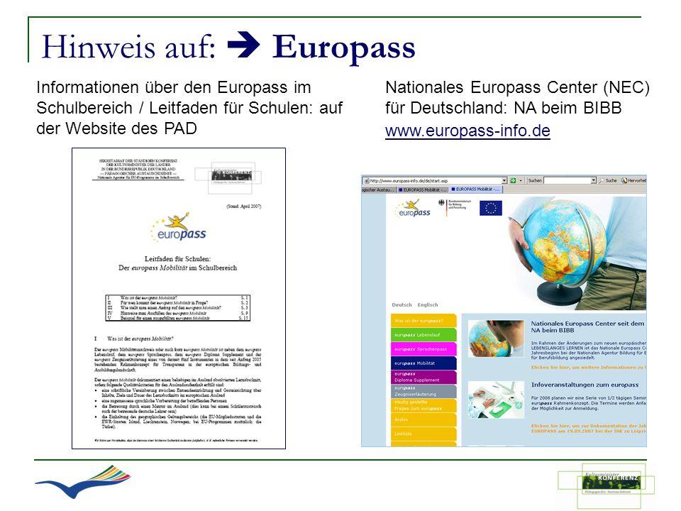 Hinweis auf:  Europass