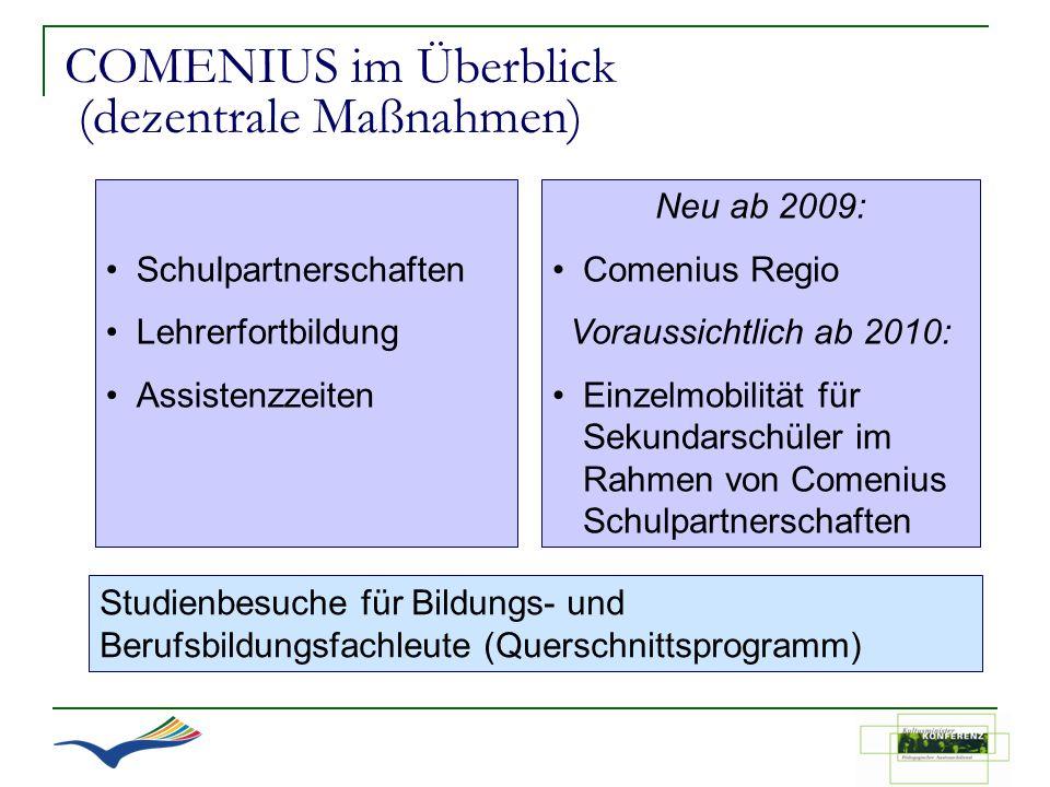 COMENIUS im Überblick (dezentrale Maßnahmen)