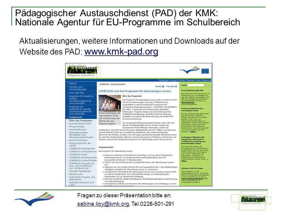 Pädagogischer Austauschdienst (PAD) der KMK: Nationale Agentur für EU-Programme im Schulbereich