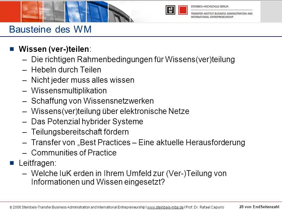 Bausteine des WM Wissen (ver-)teilen: