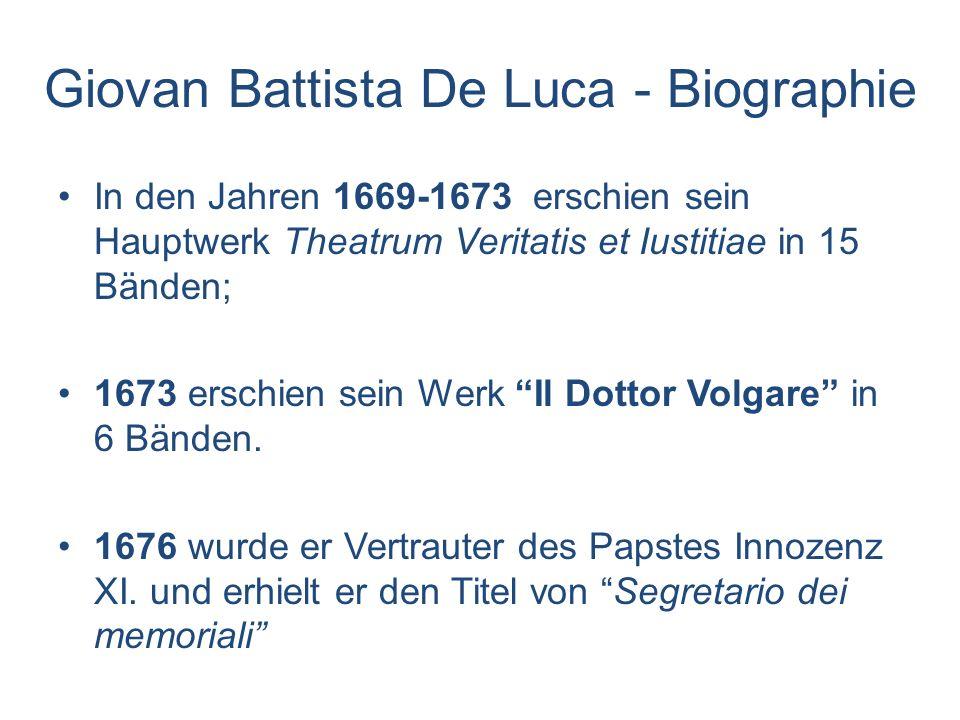Giovan Battista De Luca - Biographie