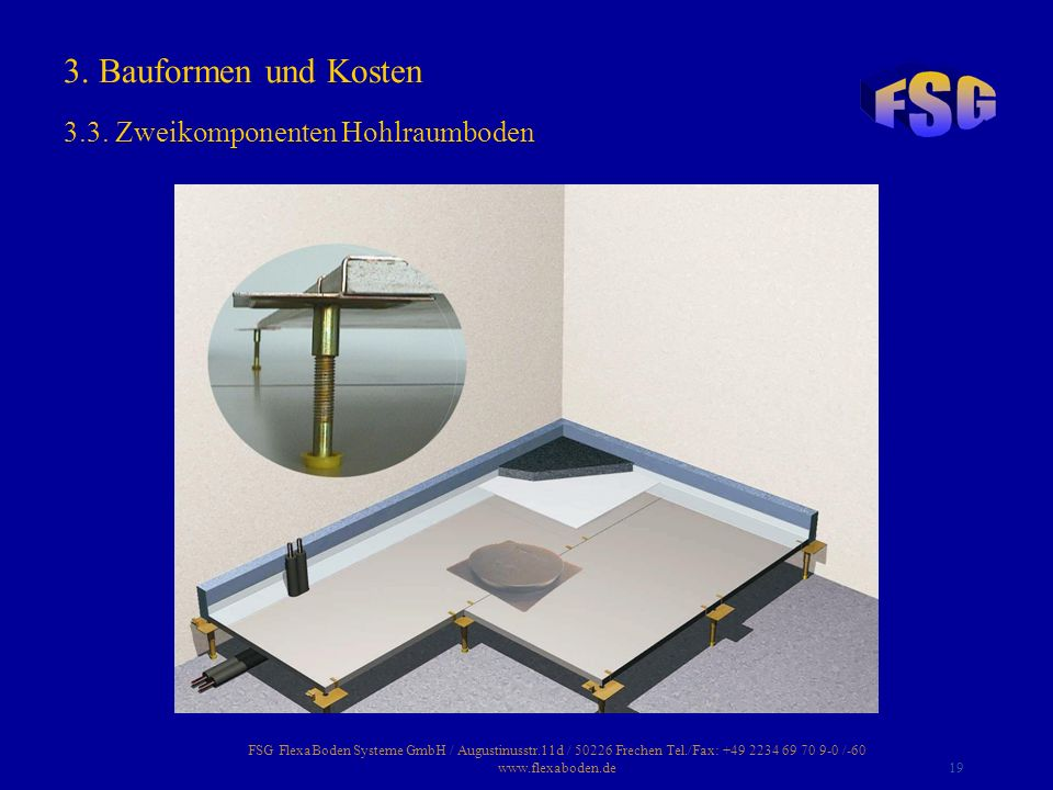 3. Bauformen und Kosten 3.3. Zweikomponenten Hohlraumboden