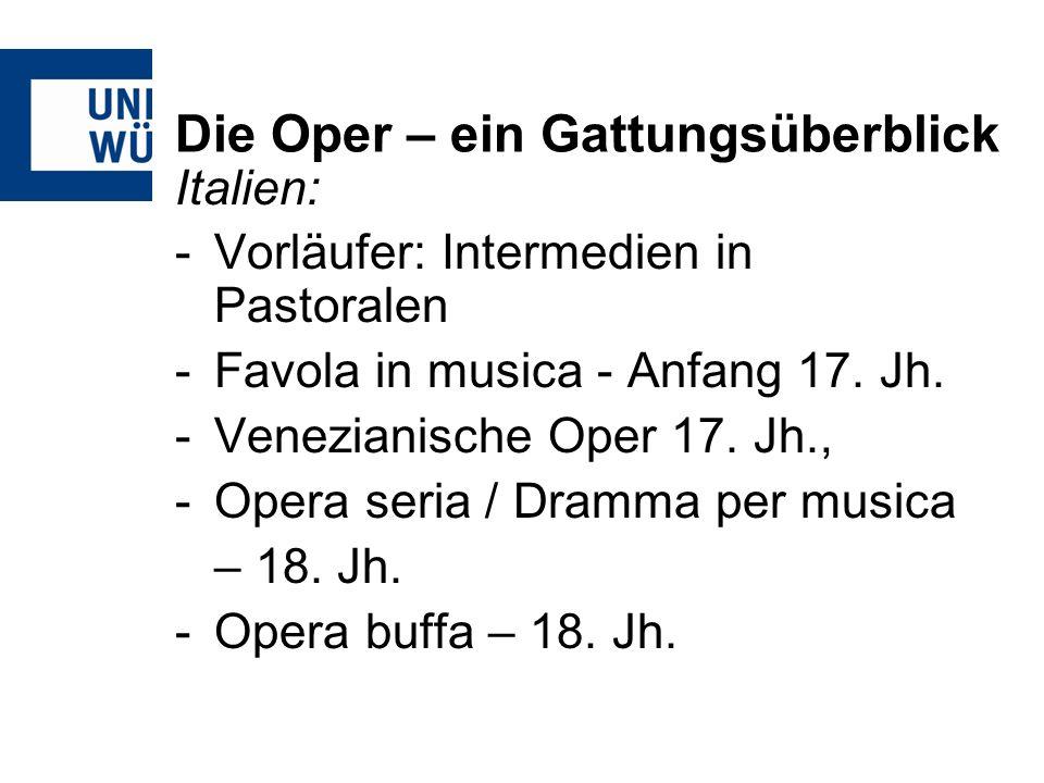 Die Oper – ein Gattungsüberblick