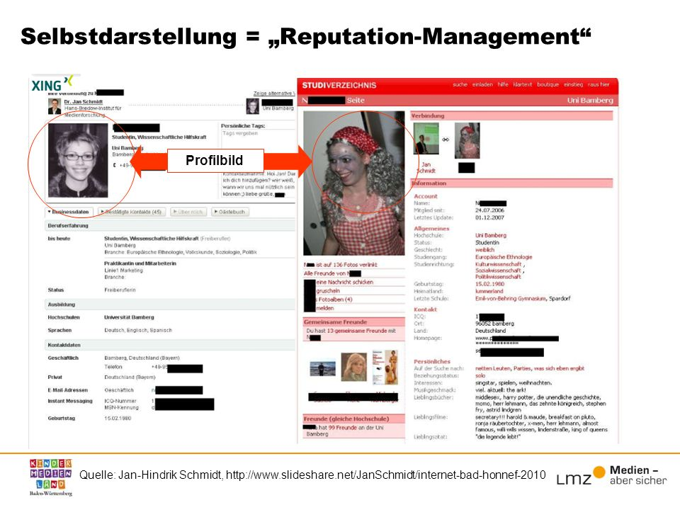 "Selbstdarstellung = ""Reputation-Management"