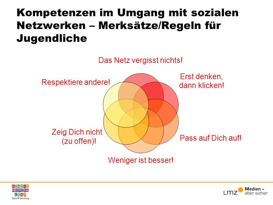 Kompetenzen im Umgang mit sozialen Netzwerken – Merksätze/Regeln für Jugendliche