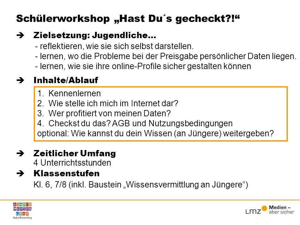 """Schülerworkshop """"Hast Du´s gecheckt !"""