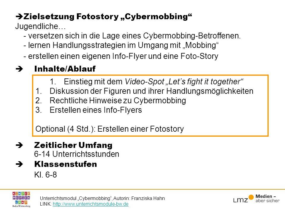 "Zielsetzung Fotostory ""Cybermobbing Jugendliche…"