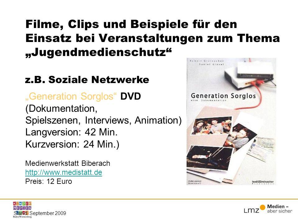 """Filme, Clips und Beispiele für den Einsatz bei Veranstaltungen zum Thema """"Jugendmedienschutz"""