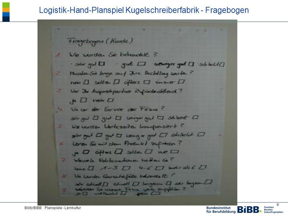 Logistik-Hand-Planspiel Kugelschreiberfabrik - Fragebogen