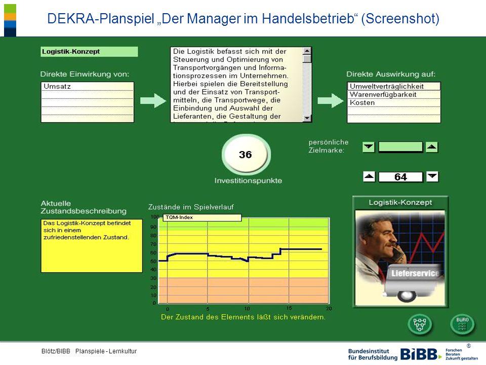 """DEKRA-Planspiel """"Der Manager im Handelsbetrieb (Screenshot)"""