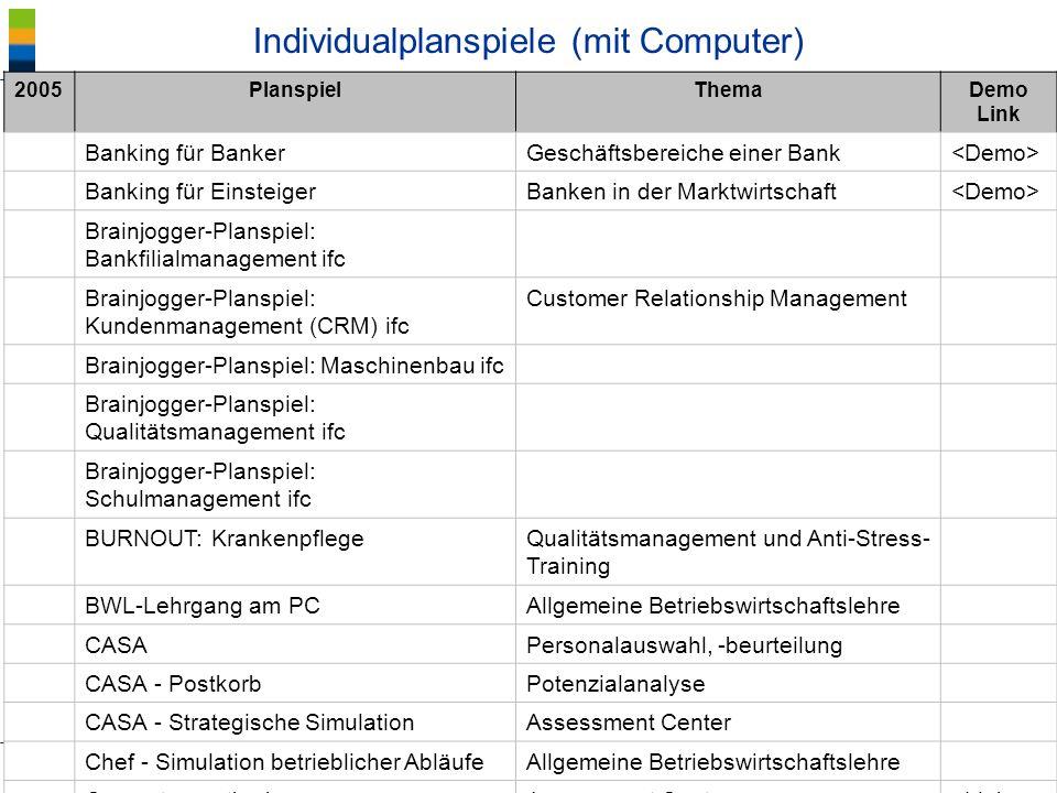 Individualplanspiele (mit Computer)
