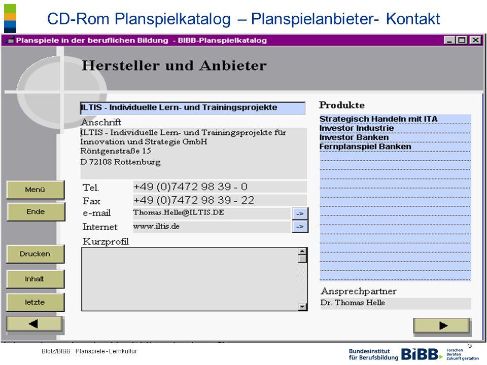 CD-Rom Planspielkatalog – Planspielanbieter- Kontakt