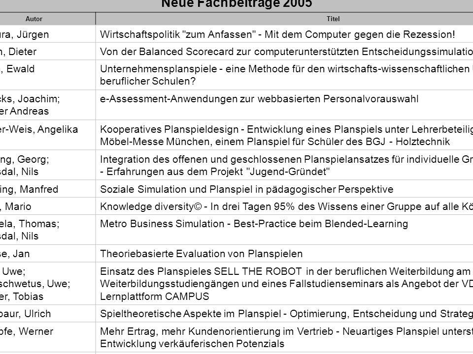 Neue Fachbeiträge 2005 Badura, Jürgen