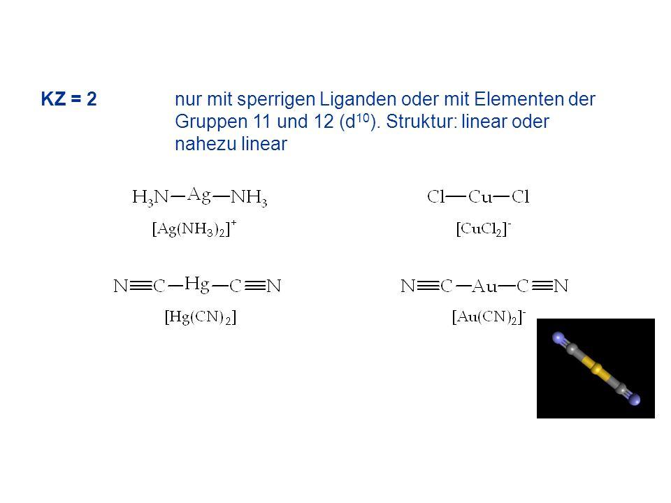 KZ = 2 nur mit sperrigen Liganden oder mit Elementen der