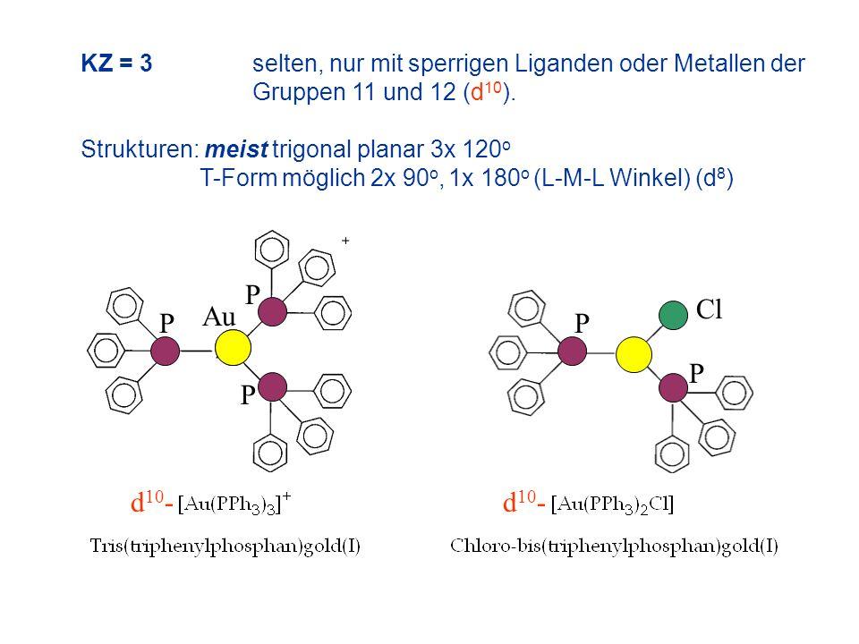 KZ = 3 selten, nur mit sperrigen Liganden oder Metallen der