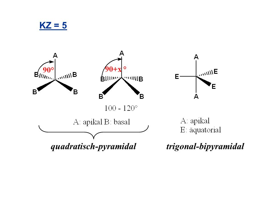 KZ = 5 quadratisch-pyramidal trigonal-bipyramidal