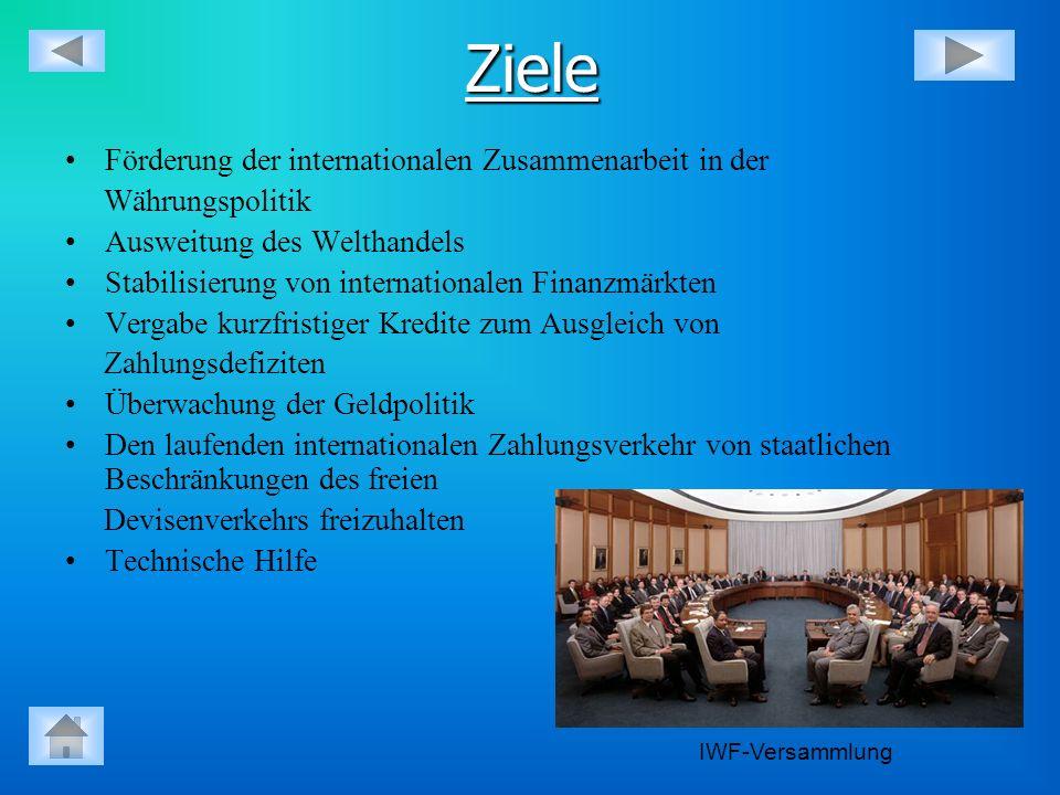 Ziele Förderung der internationalen Zusammenarbeit in der